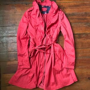 Elle red coat with ruffles XS